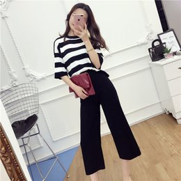Discount half t shirts for women - 2017 New Women Knitted T Shirts Tops+Pants 2PCS Sets Half Sleeve Loose Striped T-shirt Wide Leg Pant Costumes Suits for