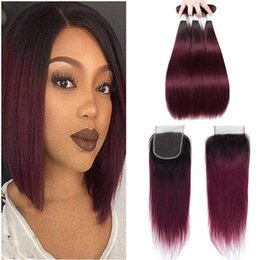 burgundy ombre color weave 2019 - Ombre Peruvian Straight Human Hair Bundles with Lace Closure Colored Peruvian 1B 99# Burgundy Remy Human Hair Weave with
