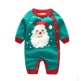 Santa Claus Girls Jumpsuit Australia - Christmas gifts baby Rompers NB little kids sweater jumpsuit button infant clothing Santa Claus Unicorn Costume snowman winter thicken