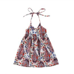 46596bf1e Fashion Kids Babys Girls Clothes Sleeveless Strap Flowers Boho Dress  Sundress Beach Maxi Dress Summer Kid Baby Girl Clothes 0-4T