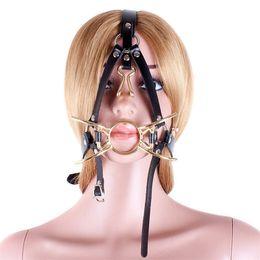 Balls Bra Australia - Gold Tone Stainless Steel Spider Mouth Restraint Ball Gag Nose Hook Head Belt #R47