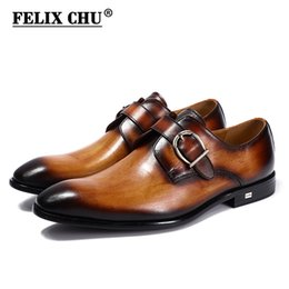 Brown Monk Strap Canada - FELIX CHU European Style Handmade Genuine Leather Men Brown Monk Strap Formal Shoes Office Business Wedding Suit Dress Loafers