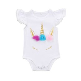 Triangle Color Cartoon UK - 2 Color Baby girl INS Unicorn triangle rompers Children ins cartoon cotton Flying sleeve rompers baby clothes B001