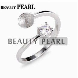 Pearl rings Prongs online shopping - 5 Pieces Elegant Classic Style Pearl Ring Mountings Sterling Silver Set Prongs Round Cut Clear White Zircon