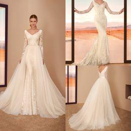 cfaf2d71b7 Cabotine 2019 Fairy Mermaid Wedding Dresses With Detachable Train V Ncek Lace  Long Sleeve Bridal Gowns Plus Size Robe De Mariée