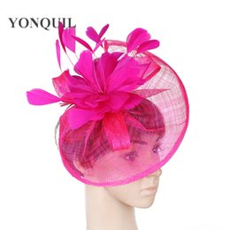 $enCountryForm.capitalKeyWord NZ - Yellow or Multiple colors sinamay fascinator DIY hair accessories with feather flower adorned hat hairbands decorative women wedding