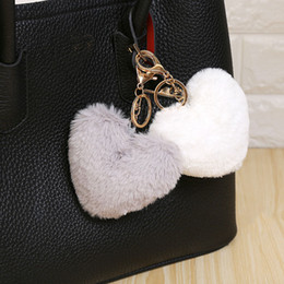 Heart Shaped Handbags Wholesale Australia - 10 cm Fluffy Fur Pompom Keychain Soft Lovely Heart Shape Pompon Faux Bunny Rabbit Fur Pom Poms Ball Car Handbag Key Ring Gift