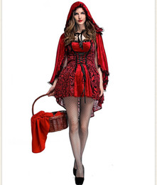 Chinese  Plus Size Fairy Tales Little Red Riding Hood Costume Small Red Cap Princess Adult Halloween costumes for women PS079 manufacturers