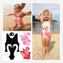 c7a97048516ad Children Summer Swimwear Baby Girls One Piece Swimming Suits Penguin Swan  Flamingos Digital Printing Cartoon Kids Swimsuit With Sale