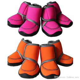 $enCountryForm.capitalKeyWord NZ - 4Pcs Set Waterproof Winter Pet Dog Shoes 7 SIZE Dog's Boots Cotton Non Slip XS XL for ChiHuaHua Puppy Shoes Orange rose red