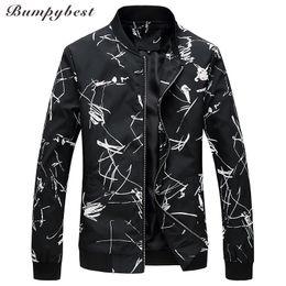 Men Tracks Canada - Bumpybeast Men Track Jacket Boy Windbreaker Sleeve Street Flower Jackets Hip Hop Man 6XL Coat Male Patchwork Style Outwear JK808