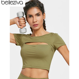 Sexy Army Shirts Australia - Belleziva Keyhole Sporty Tee Sexy Hollow Out Sport Running T-Shirts Breathable Gym Yoga Shirt Women Sport Wear Workout Clothings