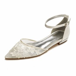 Creativesugar lady satin mesh dress shoes pointed toe ankle strap bridal  wedding flats with lace applique sweet girl princess 960f861ce408