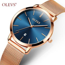 luxury ultrathin watches NZ - OLEVS Luxury Gold Women's Watch Ultrathin Quartz Wristwatch for Girl Mesh Steel Strap Calendar Clock Water Proof Ladies Watches