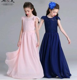 $enCountryForm.capitalKeyWord UK - Puff Sleeve Long Dresses for Big Girls Lace Chiffon Floor Length Prom Wedding Party Dresses fit 9-15 Years Old Girls