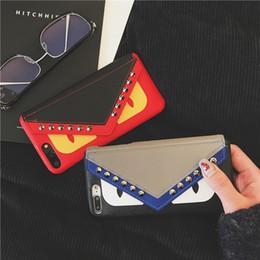 devil leather 2019 - Fashion Brand Devil Eyes Leather Wallet Case Envelope Pattern Kickstand Bracket Holster Phone Shell Tide Rivet Back Cove