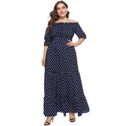 3XL 4XL 5XL 6XL Plus Size Off the Shoulder Dress Women Polka Dot Vintage  Dress Half Sleeves Elastic Waist Boho Maxi Long Gowns d208a6673fc8