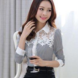 $enCountryForm.capitalKeyWord Australia - female 2018 Spring Blouses shirts long-sleeve Elegant Slim Striped print lace Patchwork Chiffon shirt Plus size Women lace Tops