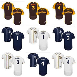7cd90ad3a custom Men's Majestic SD Padres Jersey #1 Ozzie Smith 3 Derek Norris 4 Wil  Myers Authentic Navy Blue white women youth Baseball Jerseys