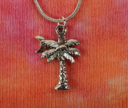 vintage crescent moon pendant NZ - Palm Tree &Crescent Moon Necklace Pendant Vintage Silver clavicle Snake Chain Choker Statement Necklaces Accessories For Women Jewelry Gift