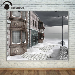 street cameras 2019 - Allenjoy photography backdrop Street snow winter store Christmas background photo studio new design camera fotografica c