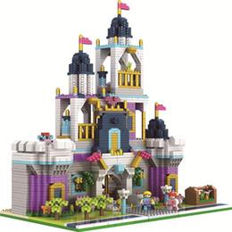 plastic toy castle building blocks 2019 - PZX 9911-1 Mini Blocks Plastic Building Toy Beautiful Castle Model brinquedos corsair Educational Kids toys for Children