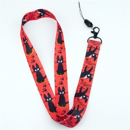 Wholesale Kiki s Delivery Service JiJi Black Cat Red Neck Strap Lanyards keys ID Card Mobile Phone Strap USB Badge Holder Rope Key Chain