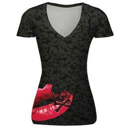 T Shirt Digital Printing Sport Australia - 2018 hot sale skull red lip digital print bottoming shirt slim large size sports V-neck T-shirt
