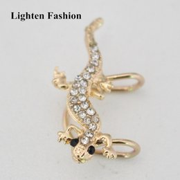 $enCountryForm.capitalKeyWord Canada - 1pc for left ear Women Cute Rhinestone Lizard Ear Cuff Personality Exaggerated Funny Animal Clip Earrings Jewelry