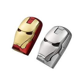China Creative Gold Silver Iron Man 32GB 64GB USB 2.0 Flash Drives Flash Pen Drive Thumb Storage Enough Memory Stick for PC Laptop Macbook Tablet suppliers