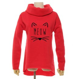 $enCountryForm.capitalKeyWord UK - Meow Cat Funny Christmas 2018 Women Winter Hoodies Scarf Collar Long Sleeve Fashion Casual Autumn Sweatshirts Rough Pullovers