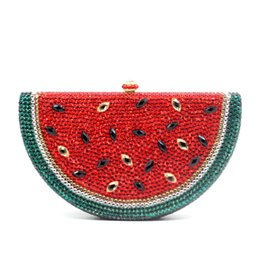 LoveLy Ladies Leather online shopping - Watermelon Pattern Evening Bag Diamond Luxury Crystal Clutch Bag Lovely Fruit Ladies Party Purse
