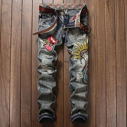 Wholesale blue ripped jeans punk rock for sale – denim Scratched Men Denim Jeans Biker Patchwork Slim Fit Vintage Blue Jeans Punk Rock Rap Washed Straight Men Ripped Pants Trousers