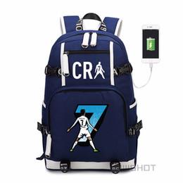 Venta al por mayor de WISHOT Cristiano Ronaldo Mochila Bolsa de viaje escolar para adolescentes Casual con puerto de carga USB Bolsas para portátiles