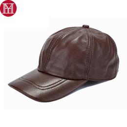 Genuine Sheepskin Leather NZ - 2018 New Men Real Genuine Leather Baseball Caps Brand Real Sheep Leather Hats Hot Autumn Winter 100% Sheepskin Cap