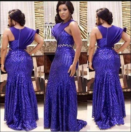 21148ae4cbfab Modest Fashion Design Royal Blue Mermaid Prom Dresses One Short Sleeve  Sequined Arabic African Formal Evening Gowns Long Party Dresses
