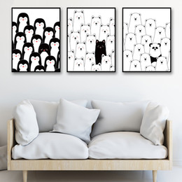 Modern abstract wall art black white online shopping - A4 Prints Nordic Style Canvas Pictures Cartoon Black And White Animals Poster Decoration For Kids Room Wall Modern Art Paintings