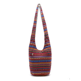 Animal Handmade Canada - Animal Printed Stripe Lines Cotton Canvas Hippie Crossbody Cross Body Bag Thai Top Zip Hobo Sling Bag Handmade Hipster Messenger Zipper Bag