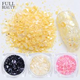 $enCountryForm.capitalKeyWord NZ - Full Beauty Glitter Sea Shell Nail Sequins Irregular Broken Thin Flakes Natural Black Pink Nail Art Powder Decor Dust CHBX01-12