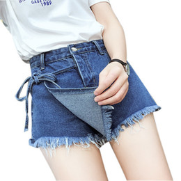 5daa7b94346 Blue Tassel Loose Denim Shorts For Women Plus Size High Waist Bow Jeans  Shorts Female Large Size Wide Leg Casual Femme