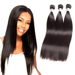 Silky Brazilian Human Hair Extensions Australia - Brazilian Virgin Hair 3 Bundles Straight Human Hair Silky Hair Extensions Wefts 8-28inch Double Wefts Natural Color