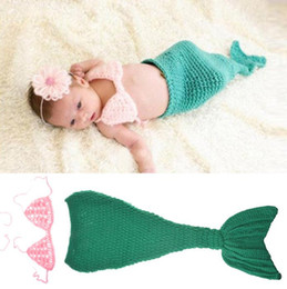 Baby Crochet Mermaid Tails Australia - Crochet Green Mermaid Baby Girls Photography Props Infant Girl Crochet Mermaid Tail Photo Props Baby Halloween Costume