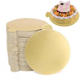 Toptan satış 100 adet / takım Yuvarlak Mus Kek Kurulları Altın Kağıt Kek Tatlı Tepsi Düğün Doğum Günü Pastası Pasta Dekoratif Araçları Görüntüler