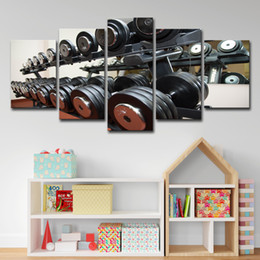 Oil Equipment Australia - Canvas Pictures Wall Art Living Room Home Decor 5 Pieces Gym Dumbbells Fitness Equipment Paintings HD Prints Posters