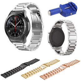 $enCountryForm.capitalKeyWord Australia - For Samsung Gear S3 Smart Watch Metal Strap 3 Beads Stainless Steel Band For S3 Frontier Classic Bracelet With Pins & Tool