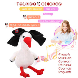 Discount toy stuffed animal chicken Talking Chicken Repeats What You Say Stuffed Animal Children Electronic Plush Toy Kids Gift M09