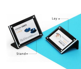 magnetic display holders Canada - Transverse L black Acrylic Frame Stand magnetic label holder table menu stand paper info photo frame advertising desk sign name card display