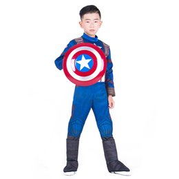avengers clothes kids 2019 - Boys Halloween Captain America muscle style Cosplay suits 2018 New Kids Avengers Superhero costume cosplay clothes+mask