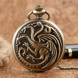 pocket pc new Australia - 1 Pcs Game of Thrones House Targaryen Three Head Dragon Quartz Fob Chain Pocket Watch For Women Man