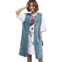 $enCountryForm.capitalKeyWord UK - Summer Plus Size Denim Vest Coat 2018 Fashion Women Sleeveless O-Neck Waistcoat Female Frayed Long Jeans Jacket Outwear ZS358